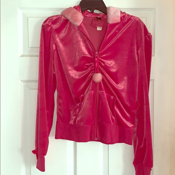 Victoria's Secret Tops - Victoria's Secret pink velour hoodie rhinestone M